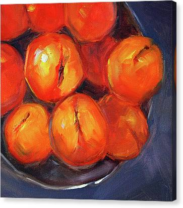 Bowl Of Peaches Still Life Canvas Print by Nancy Merkle