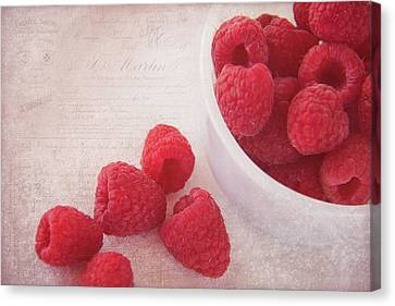 Raspberry Canvas Print - Bowl Of Red Raspberries by Cindi Ressler