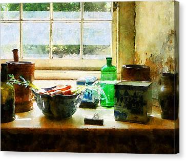 Chefs Canvas Print - Bowl Of Vegetables And Green Bottle by Susan Savad