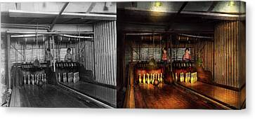 Bowling - Life In The Gutter 1910 - Side By Side Canvas Print by Mike Savad