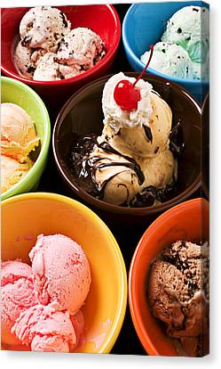 Bowls Of Different Flavor Ice Creams Canvas Print by Garry Gay