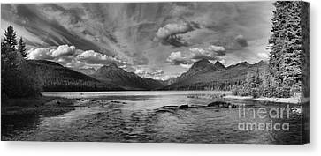 Bowman Lake Black And White Panoramic Canvas Print by Adam Jewell