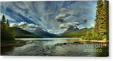 Bowman Lake Montana Canvas Print by Adam Jewell