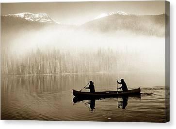 Bowron Lks. Canoe Canvas Print by John  Bartosik