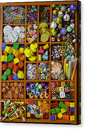 Marble Eyes Canvas Print - Box Full Of Colorful Objects by Garry Gay