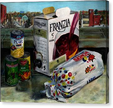 Box Wine With Bread No. 1 Canvas Print by Thomas Weeks