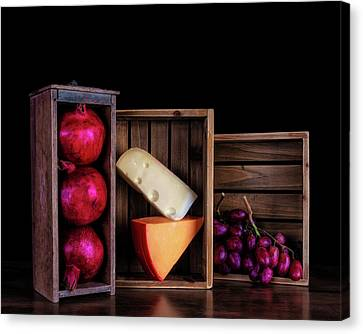 Purple Grapes Canvas Print - Boxed Cheeses And Fruits by Tom Mc Nemar