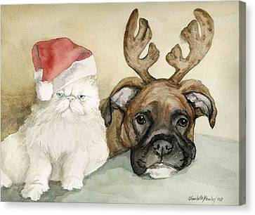 Boxer And Persian Cat Christmas Canvas Print by Charlotte Yealey
