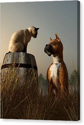 Boxer And Siamese Canvas Print by Daniel Eskridge