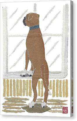 Boxer Dog Art Hand-torn Newspaper Collage Art Canvas Print by Keiko Suzuki Bless Hue