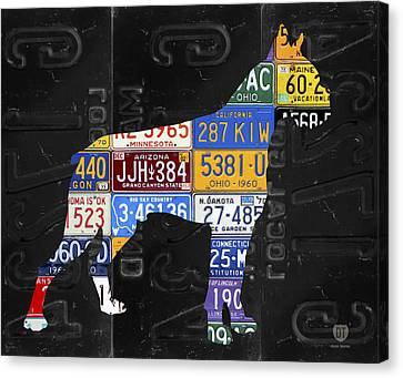 Boxer Dog Pet Owner Love Vintage Recycled License Plate Artwork Canvas Print