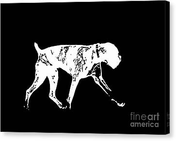 Boxer Canvas Print - Boxer Dog Tee White Ink by Edward Fielding