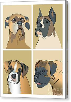 Boxer Dogs 4 Up Canvas Print by Robyn Saunders