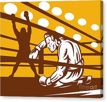 Knockout Canvas Print - Boxer Down On His Hunches by Aloysius Patrimonio