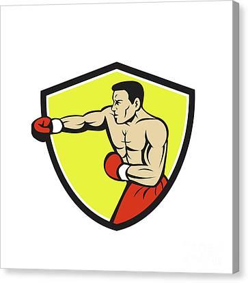 Boxer Jabbing Punching Crest Cartoon Canvas Print by Aloysius Patrimonio