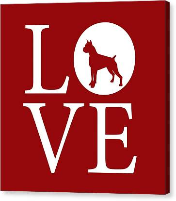 Boxer Love Red Canvas Print by Nancy Ingersoll