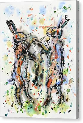 Boxing Hares Canvas Print by Zaira Dzhaubaeva