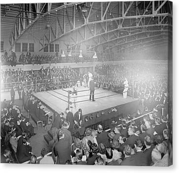 Boxing Match In 1916 Canvas Print by American School