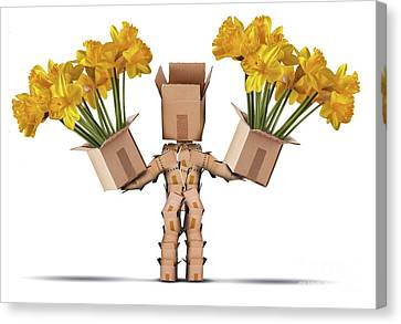 Boxman Character Holding Two Boxes Of Flower Canvas Print by Simon Bratt Photography LRPS