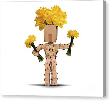 Boxman Holding Bunches Of Daffodils Canvas Print by Simon Bratt Photography LRPS