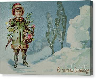 Small Basket Canvas Print - Boy And A Snowman, Victorian Christmas Card by English School