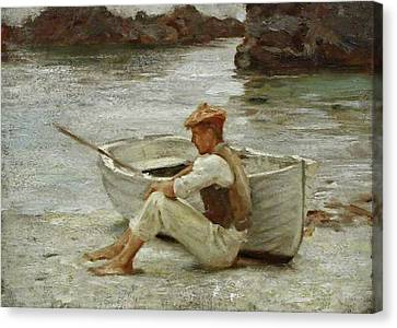 Canvas Print featuring the painting Boy And Boat  by Henry Scott Tuke