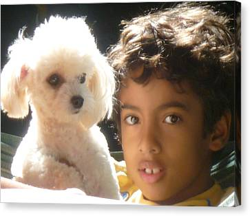 Canvas Print featuring the photograph Boy And Dog by Beto Machado
