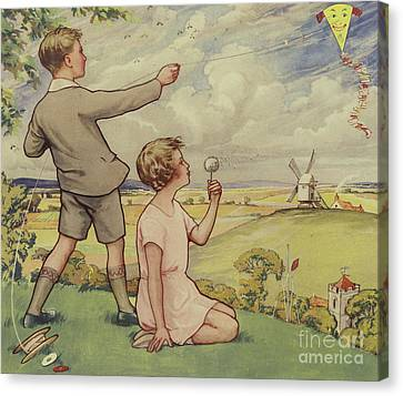 Boy And Girl Flying A Kite Canvas Print