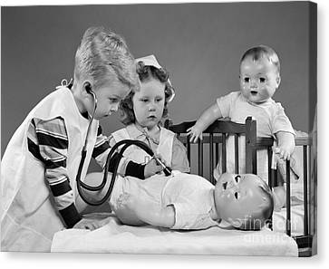 Boy And Girl Playing Doctor, C.1950s Canvas Print by H. Armstrong Roberts/ClassicStock
