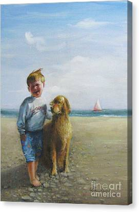 Boy And His Dog At The Beach Canvas Print