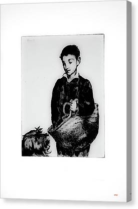 Boy And His Dog Going To Market Canvas Print