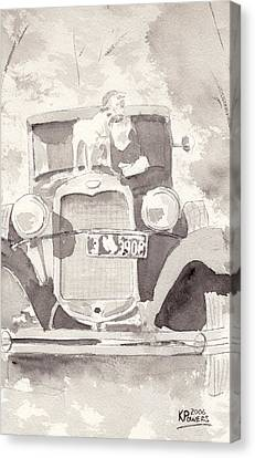 Boy And His Dog On An Old Car Canvas Print by Ken Powers