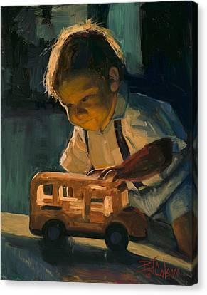 School Bus Canvas Print - Boy And Their Toys by Billie Colson