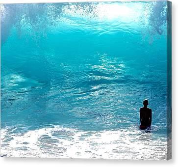 Boy And Wave Kekaha Beach Canvas Print by Debra Banks