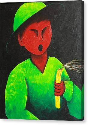 Boy Blowing Out Candle  1987 Canvas Print by S A C H A -  Circulism Technique