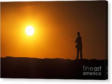 Boy Flyfishing Canvas Print by John Greim