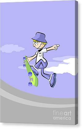 Skate Canvas Print - Boy Having Fun In Skating Park Jumping High With His Green Skateboard by Daniel Ghioldi