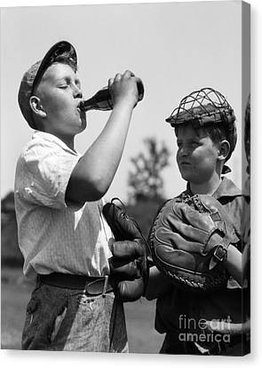Boy Hogging Soda, C.1930s Canvas Print by H. Armstrong Roberts/ClassicStock
