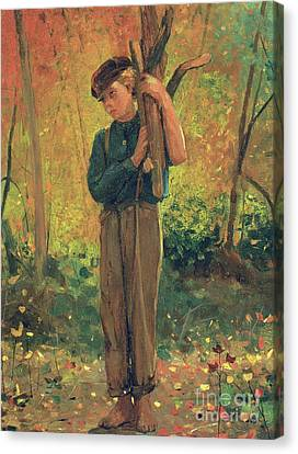Boy Holding Logs Canvas Print by Winslow Homer