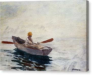 Boy In A Boat Canvas Print by Winslow Homer