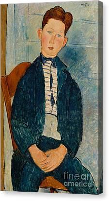 Boy In A Striped Sweater, 1918 Canvas Print by Amedeo Modigliani