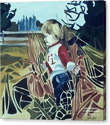 Boy In Grassy Field Canvas Print
