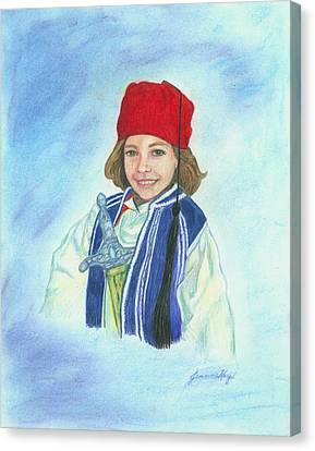 Canvas Print featuring the painting Boy In Greek Costume by Jeanne Kay Juhos