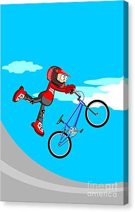 Conceptual Canvas Print -  Boy Jumping On A Blue Bmx Bicycle by Daniel Ghioldi