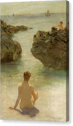 Canvas Print featuring the painting Boy On A Beach, 1901 by Henry Scott Tuke