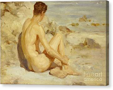 Boy On A Beach Canvas Print by Henry Scott Tuke