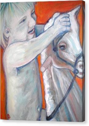 Boy On Rocking Horse Canvas Print
