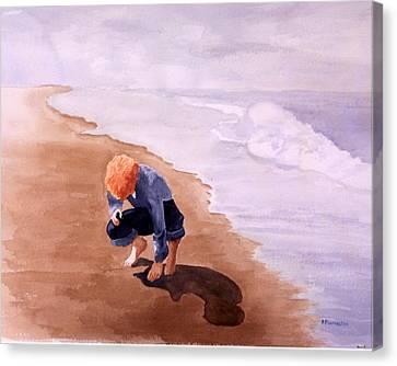 Boy On The Beach Canvas Print by Robert Thomaston
