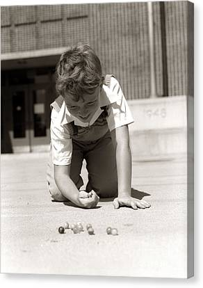 Boy Playing Marbles, C.1950s Canvas Print