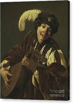 Boy Playing The Lute Canvas Print by Hendrick Ter Brugghen
